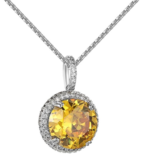 Preload https://img-static.tradesy.com/item/20873764/14k-white-gold-finish-canary-solitaire-round-pendant-free-chain-charm-0-1-540-540.jpg