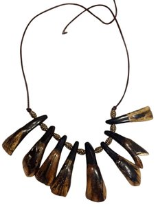 Other genuine polished cattle tooth necklace