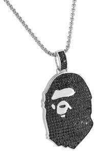 Other Ape Pendant 14k White Gold Finish Black Lab Diamonds Iced Out Custom