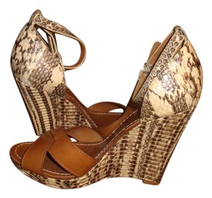 Tory Burch Brown Leather/Snakeskin Wedges