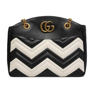 Gucci Gg Marmont Gg Marmont Gg Gg Marmont Gg Marmont Medium Tote in White and black