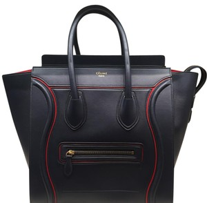 Céline Satchel in Navy with Red