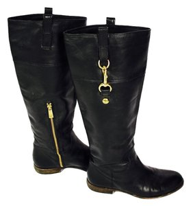Coach Leather Riding Knee High Black & Gold Boots