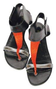 Enzo Angiolini Ankle Strap Black, Red & Silver Sandals