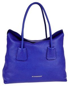 Burberry Top Handle Leather Blue Tote