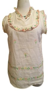 Anthropologie Embroidery Ruffles Cap Sleeve Top Cream