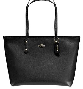 Coach F58846 Leather Black Tote in Imitation Gold/Black