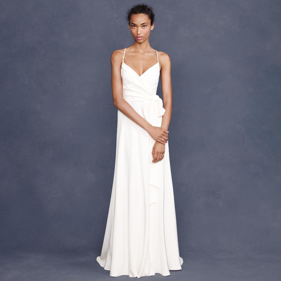 Lovely J.Crew Ivory Silk Tricotine Goddess Destination Wedding Dress Size  XK94