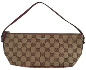 Gucci Monogram Wristlet Pochette Canvas Shoulder Bag