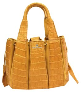 Domenico Vacca Structured Pumpkin Shaped Magnetic Tab Closure Drawstring On Sides Double Handle Tote in Gold