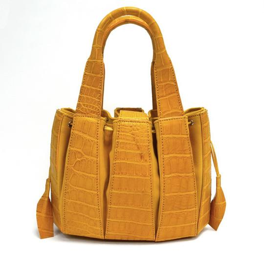 Domenico Vacca Structured Pumpkin Shaped Magnetic Tab Closure Drawstring On Sides Double Handle Tote in Gold Image 1