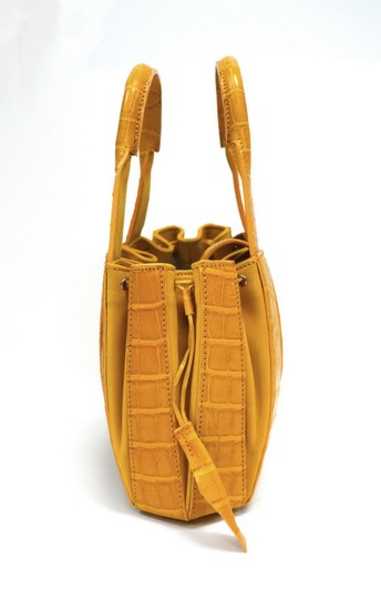 Domenico Vacca Structured Pumpkin Shaped Magnetic Tab Closure Drawstring On Sides Double Handle Tote in Gold Image 3