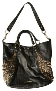 Betsey Johnson Leather Leopard Chain Tote in Black/Multi