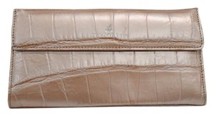 Domenico Vacca Magnetic Closure Slip Interior Pocket Leather Lining Comes With Dust Silver Logo Detail Light Pink Clutch