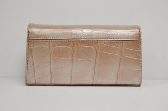 Domenico Vacca Magnetic Closure Slip Interior Pocket Leather Lining Comes With Dust Silver Logo Detail Light Pink Clutch Image 1