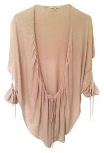 Guess Blush Pink Taupe Ruched 3/4 Sleeve Cardigan