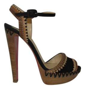 Christian Louboutin Wood Heel & Bohemian Look Scalloped Edges Ankle Strap Suede & Leather Black & Brown Platforms
