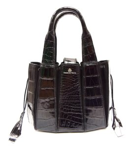 Domenico Vacca Pumpkin Shape Magnetic Closure Double Handle Structured Bottom Suede Lining Tote in Black