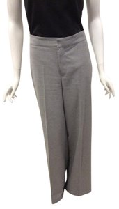 Zara Woman Flannel Victoria Beckham Wide Leg Mid-rise Trouser Pants Grey Flannel
