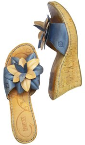 Børn Cork Floral Blue Wedge Comfort blue/tan Sandals