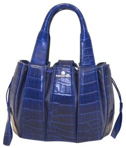Domenico Vacca Pumpkin Shaped Magnetic Closure Drawstring Sides Double Handle Suede Lining Tote in Blue