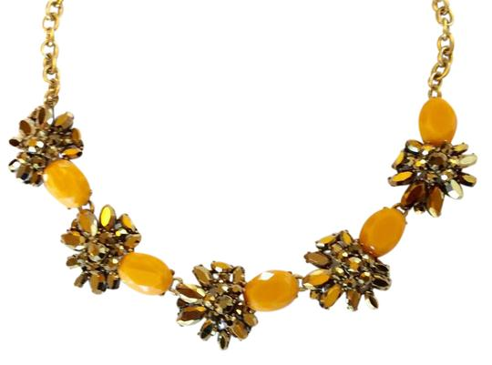 J.Crew NWT- Cantelope Orange and Bronze Metallic Crystal Statement Necklace Image 0