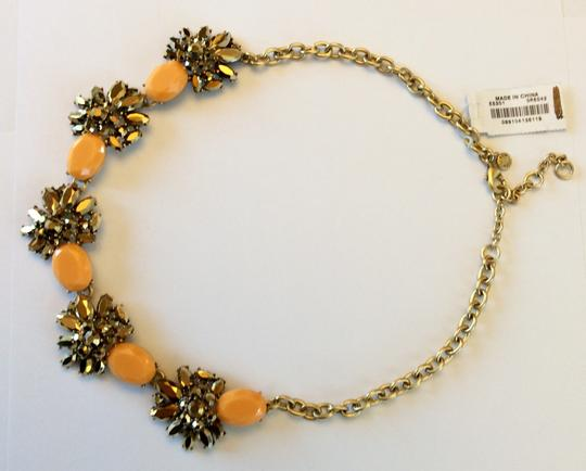 J.Crew NWT- Cantelope Orange and Bronze Metallic Crystal Statement Necklace Image 2