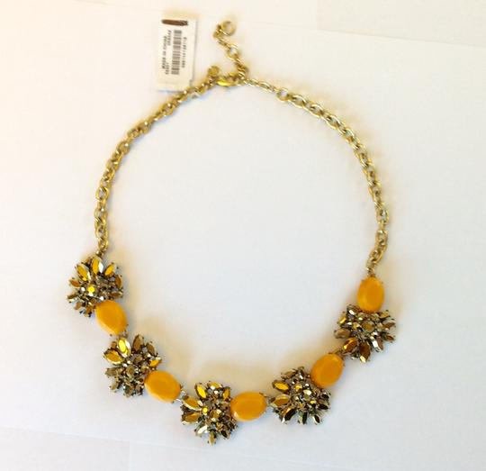 J.Crew NWT- Cantelope Orange and Bronze Metallic Crystal Statement Necklace Image 3