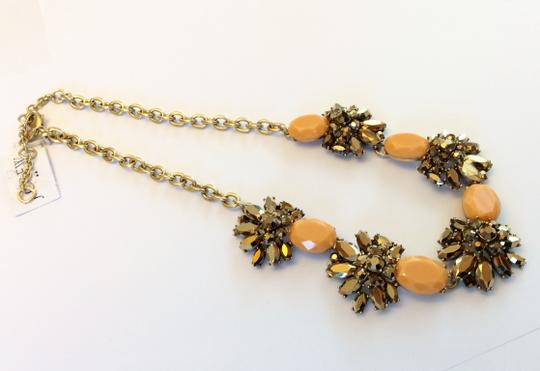 J.Crew NWT- Cantelope Orange and Bronze Metallic Crystal Statement Necklace Image 4