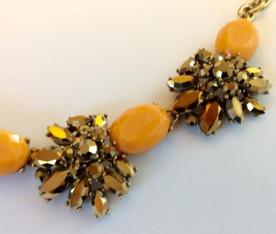 J.Crew NWT- Cantelope Orange and Bronze Metallic Crystal Statement Necklace Image 5