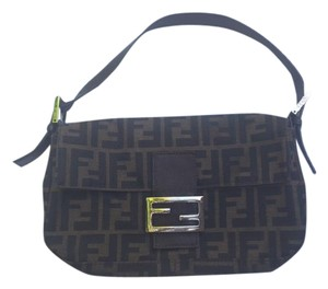 Fendi Zucco Baguette Strap Logo Shoulder Bag