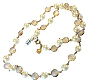 J.Crew New Long Pearl And Crystal Chain Necklace In Gold
