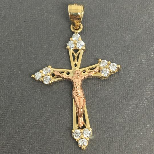 Other 14K Two-Tone Gold CZ Crucifix Jesus Pendant Image 1