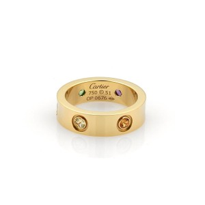 Cartier Cartier Love Multicolor Saphhires 18k YGold Band Ring Size 51-US 5.5