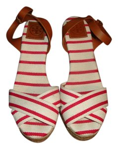 Tory Burch Red/White Wedges