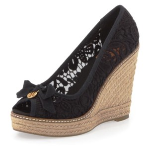 Tory Burch Black/Lace Wedges