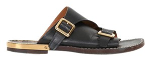 Chloé Chloe Leather Gold Black Sandals
