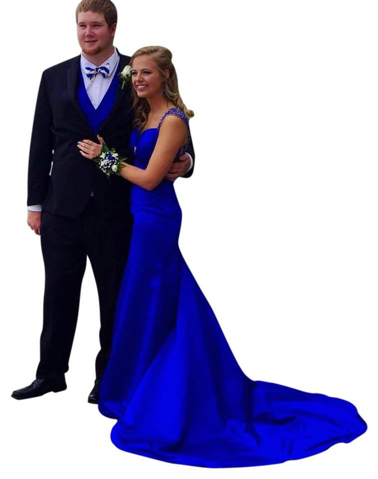 Sherri Hill Blue Long Formal Dress Size 6 (S) - Tradesy