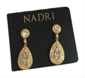 Nadri Pear Drop Earrings in Gold Tone