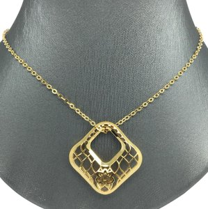 Other 14K Yellow Gold Large Open Square Necklace