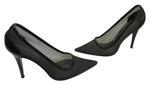 Stella McCartney Heels Made Italy Sexy Black See through mesh patent stilettos vegan E38.5 Italian Pumps