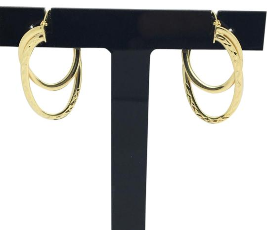 Other 14K Yellow Gold Diamond Cut Double Layers Hoop Earrings Image 0