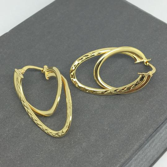 Other 14K Yellow Gold Diamond Cut Double Layers Hoop Earrings Image 1