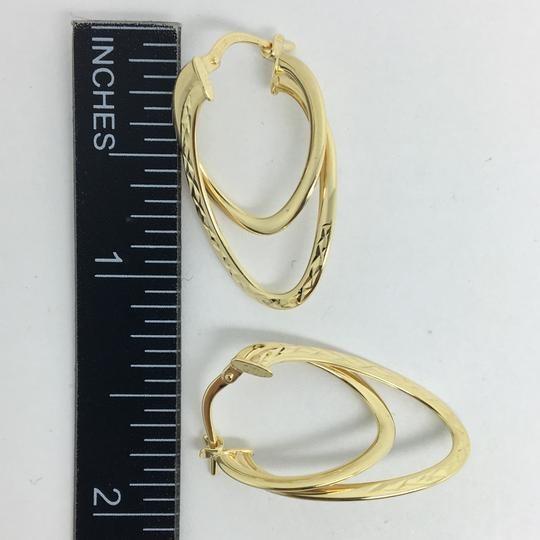 Other 14K Yellow Gold Diamond Cut Double Layers Hoop Earrings Image 3