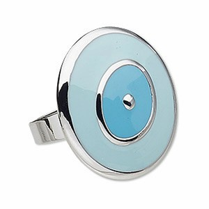 Other Turquoise Enamel and Silverplated Adjustable Statement Ring Sz 6-9