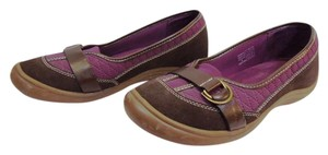 Lands' End Tailored Terrain Ballet Leather Sz 9.5 Brown and Purple Flats