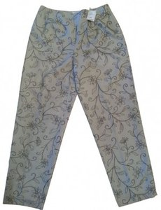 Talbots Straight Pants Light grey with black & white accent yarn