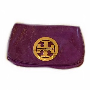 Tory Burch Crinkle Logo Clutch Purple Clutch