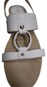 Anne Klein Longly Open Toe Wedge White Sandals
