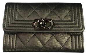 Chanel So Black Chanel Boy Flap Card Holder/Wallet